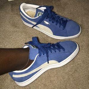 Blue and cream puma shoes